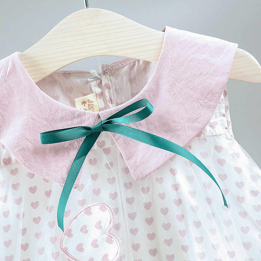 Платье принцессы с кружевной отделкой для маленьких девочек, праздничное фатинвечерние платье принцессы в горошек с сердечками, одежда, платье принцессы, хит продаж, #06