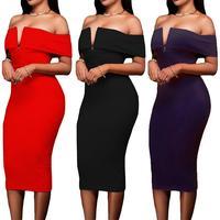 FANALA Party Dress Women 2017 Sexy Fuori Dalla Spalla Aderente Estate abiti Low Cut Scollo A V Cerniera Posteriore Metà Polpaccio Solido Vestidos
