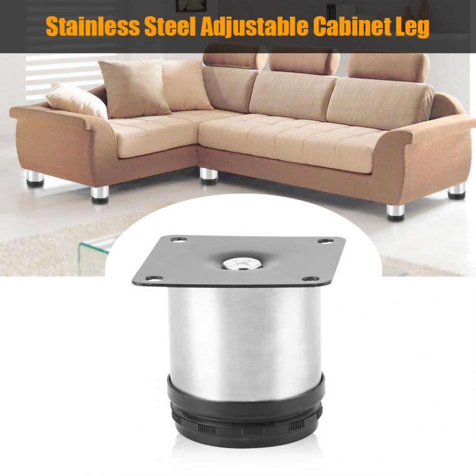 Stainless Steel Adjustable Home Kitchen Cabinets Table Shelf Feet Round  Furniture Leg Tool Part 60-150mm for Choose