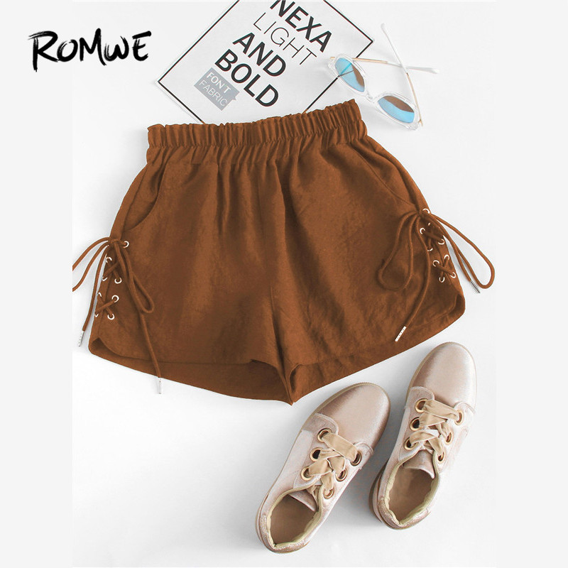 ROMWE Brown Eyelet Lace Up Side Straight Leg Casual Women   Shorts   2019 Summer Fashion Female Elastic Waist Solid   Shorts