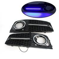 2PCS For Audi A4 B8 2009 2010 2011 2012 Fog Light Frame Cover with LED Light Bar Fog Light Box