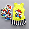 2016 Baby Boy girl Summer Clothing Set Sleeveless Shirt + Shorts Kid Boy suit childern Cartoon Sports Suit Vest clothes Set