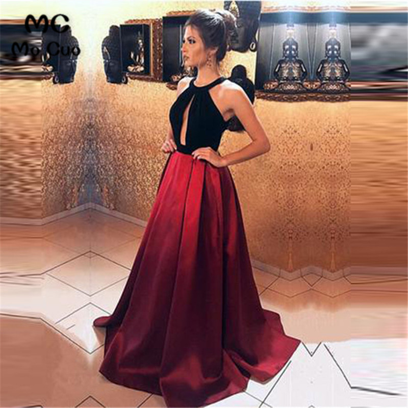 In Stock 2019 Ready Ship Evening Dresses Long with Pockets Robe de soiree Satin Backless A