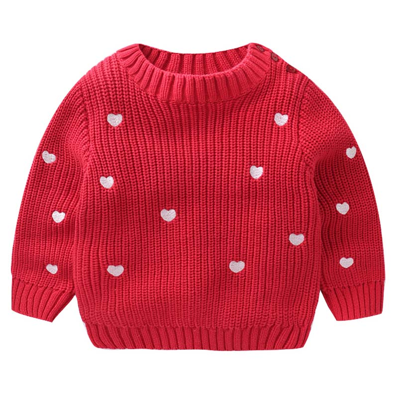 Girls Autumn Sweater Long Sleeve Kids Sweater for Girls Children Fashion Heart-shaped Pullover Coat Baby Girl Winter Clothes new kids baby girls clothes set heart shaped dress pant