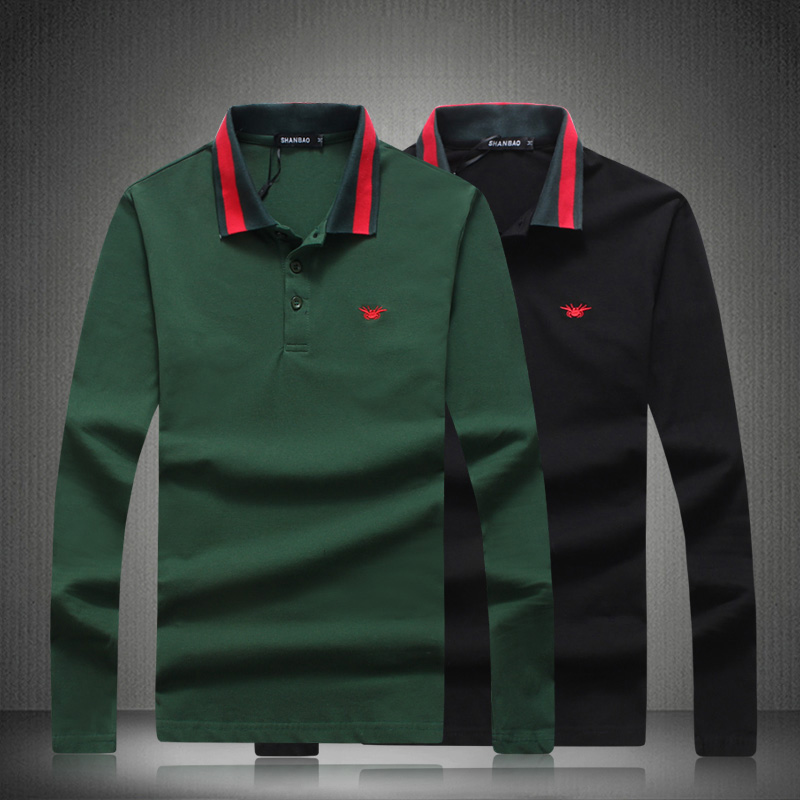 Designer   Polo   Shirts 2018 New Men Breathable Classic Solid Smart Brand Long Sleeves Shirts Black Green Plus Size 4XL 5XL 81834