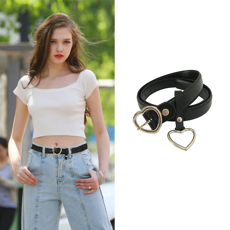 Seabigtoo heart   belts   female metal buckle   belts   for women jeans   belts   for pants with heart ring cute straps waist chain causal