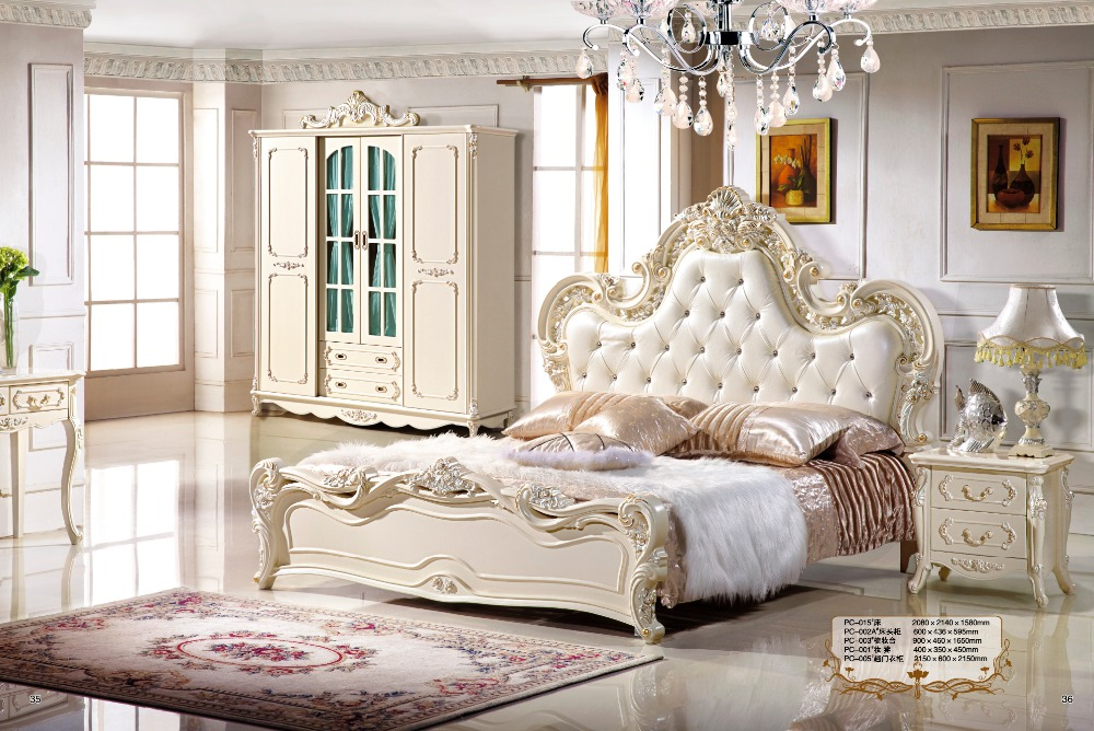 Luxury Bedroom Set With Solid Wood Genuine Leather