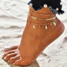 84481a76ab3a Hoja de tobilleras cadena larga para mujer pierna pulseras de joyería de  moda Accesspries mujer playa tobillo decoraciones de ac.