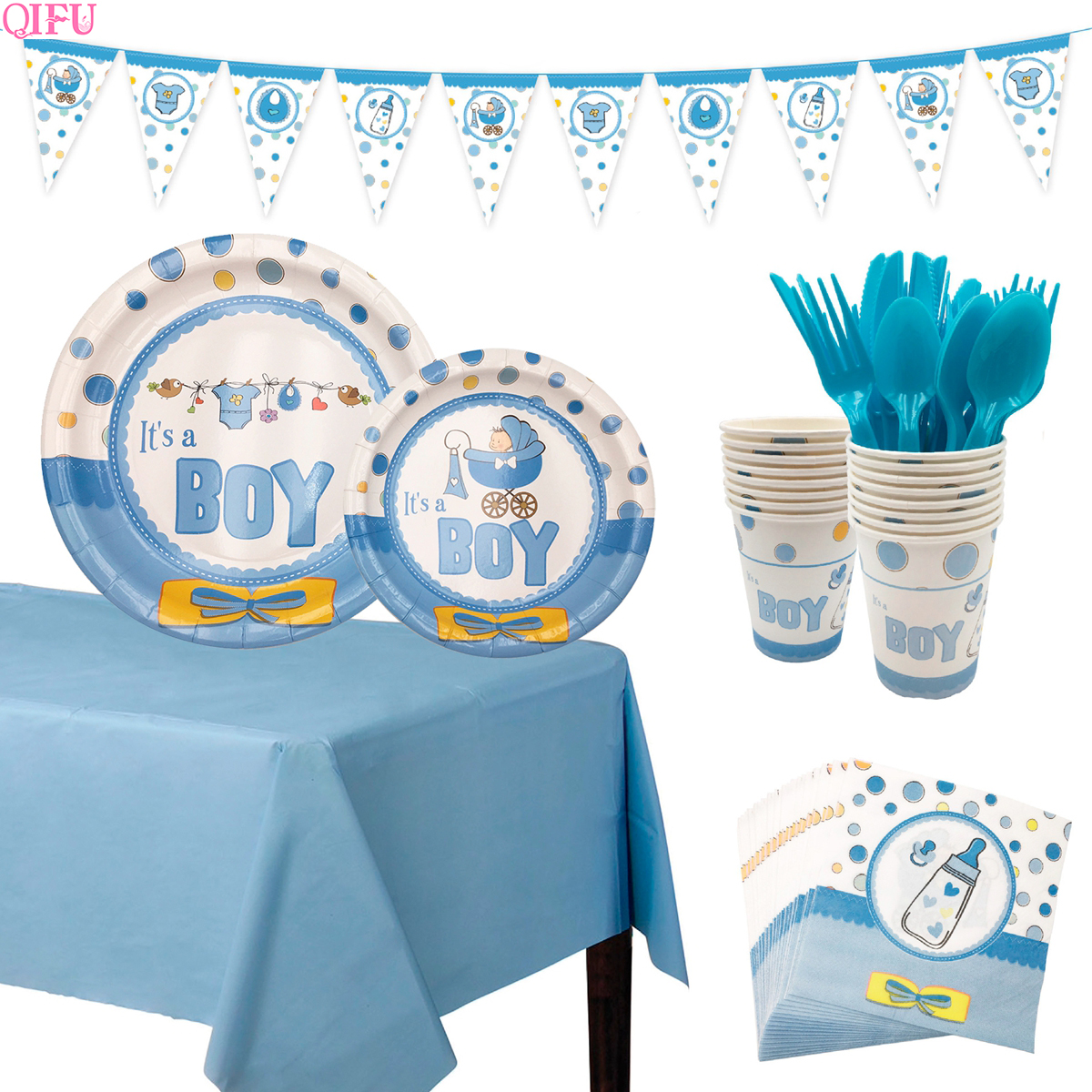 QIFU Oh Baby Boy Party Baby Shower Decoraties Baby Shower Ballonnen Banner Baby Shower Meisje Gunsten Gifts Doop Gunsten Supplies 1