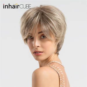 Wigs Hair-Short-Wig CUBE Human-Hair Synthetic-Blend Straight for Women Fluffy Blonde