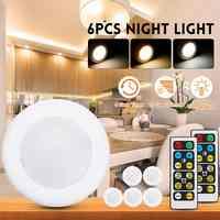 CLAITE 6 pièces LED Armoire Lumières avec 2 pièces Télécommandes Batterie Puissance Dimmable Calendrier