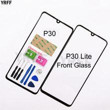 Painel frontal móvel de vidro para huawei ascend p30 lite, cobertura de vidro exterior para substituição