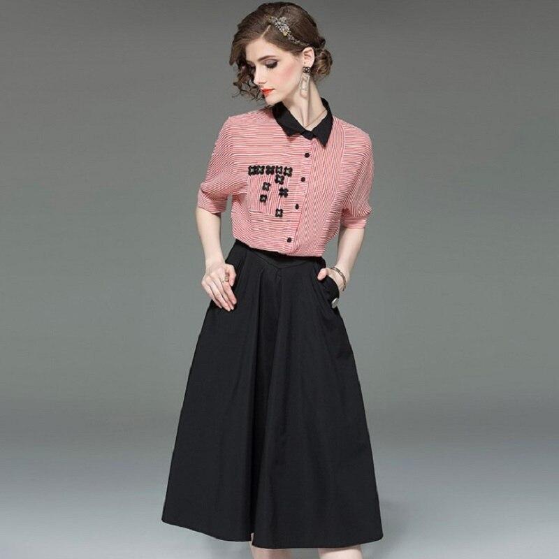 Ensembles pour femmes d'été à manches courtes chemises et jupes deux pièces Sets2019 bureau dame doux élégant Blouses et jupes ensemble de deux pièces