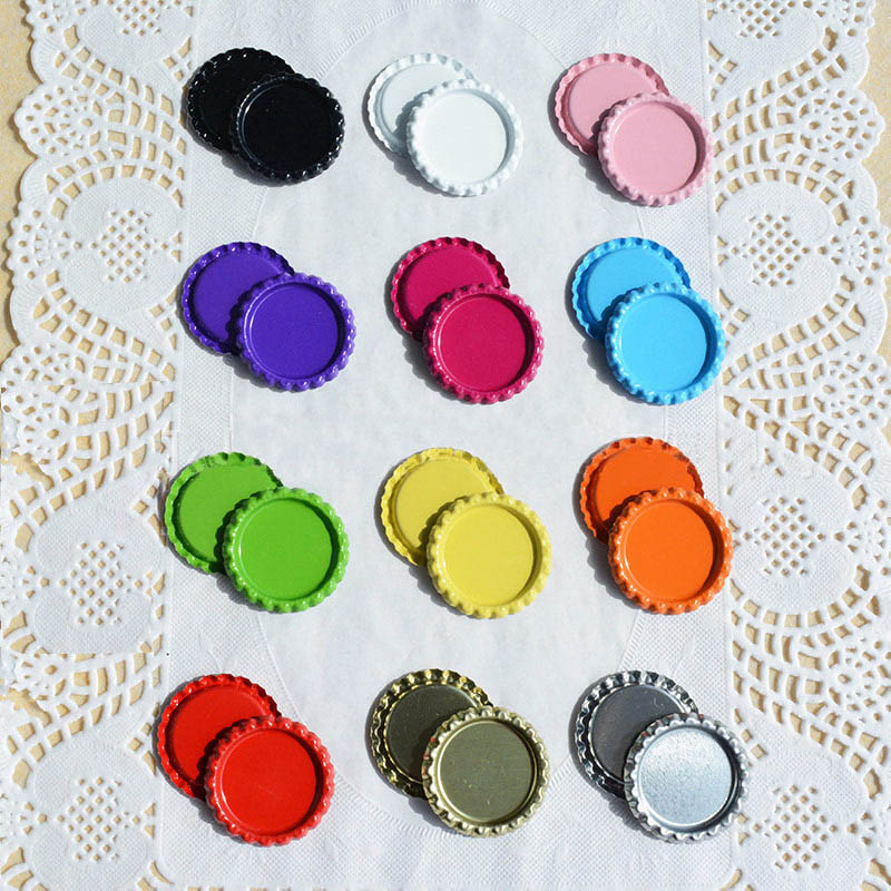 25Pcs Necklace Jewelry Accessories DIY Hairbow Crafts Metal Inside Colored 25mm Flattened Bottle Caps Round