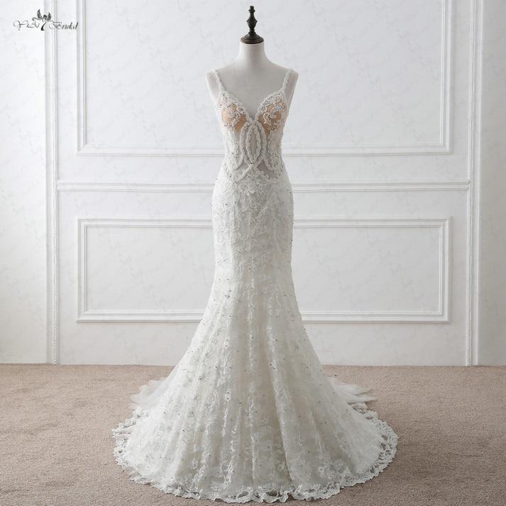 RSW1052 Sheer Lace Sexy Mermaid Wedding Dress 2016