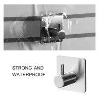 5 pcs Sticker Adhesive Hook 304 Stainless Steel Hook Wall Door Clothes Coat Hat Hanger Rustproof Towel Hook For Kitchen Bathroom