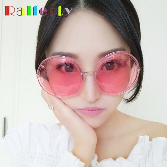 8a995fe52c9 Ralferty Oversized Sunglasses Women Candy Sun Glasses Round Pink  Transparent Glasses Female Big Face Anti UV Eyewear Oculos A927