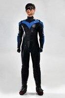 Новые Nightwing костюм супергероя Высокое качество Хэллоуин Косплэй Бэтмен Молодые юстиции Nightwing костюм полный комплект комбинезон черный