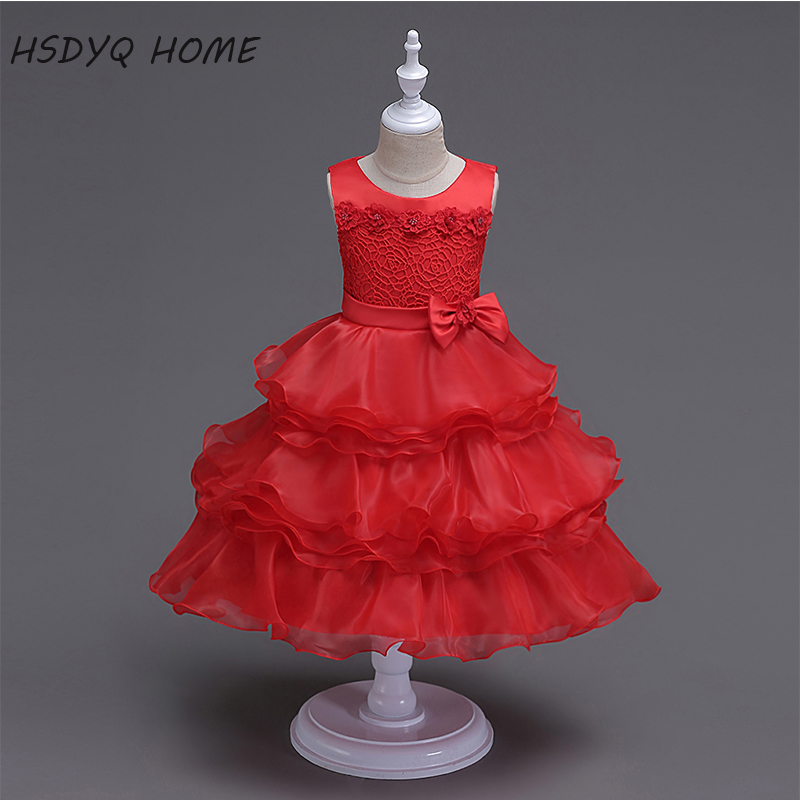 Free shipping Red Ball Gown   Flower     Girl     Dresses   2017 New Arrival cheap Kids   Dress   Beautiful Children gown real photo