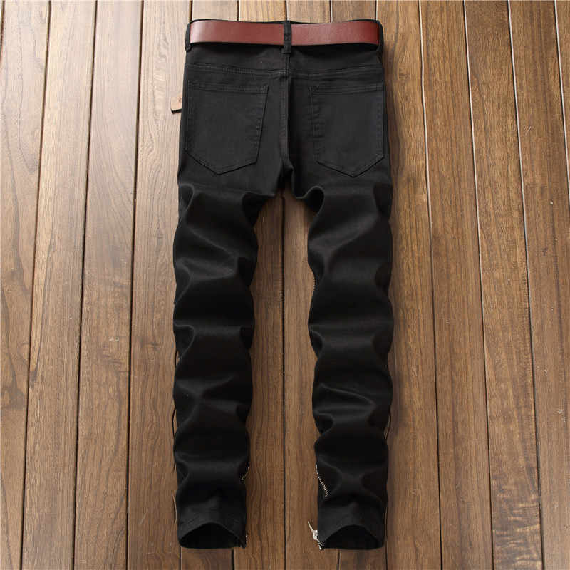 1568e9ce ... Mens Hi Street Ripped Biker Jeans Pants With Ankle Zipper Straight Stretch  Red Motorcycle Denim Trousers ...
