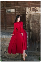 free ship red flare sleeve stand lace collar vintage dress Renaissance princess Victorian dress/Marie long dress