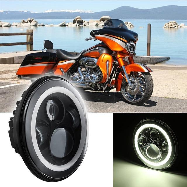 noir 7 39 39 pouces voiture phare rond moto projecteur ange halo eye pour harley davidson h4 h13. Black Bedroom Furniture Sets. Home Design Ideas