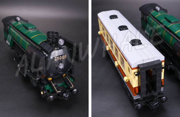1085pcs Creator Trains Emerald Night Train Steam Locomotive 21005 Model Building Blocks Assemble Gifts Sets Compatible with Lego