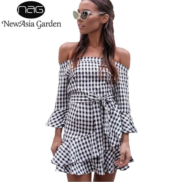 12476858013 NewAsia Garden Off Shoulder Women Plaid Dress Casual Summer Ruffles Wrap  Dresses Bow Tie Sashes Elegant
