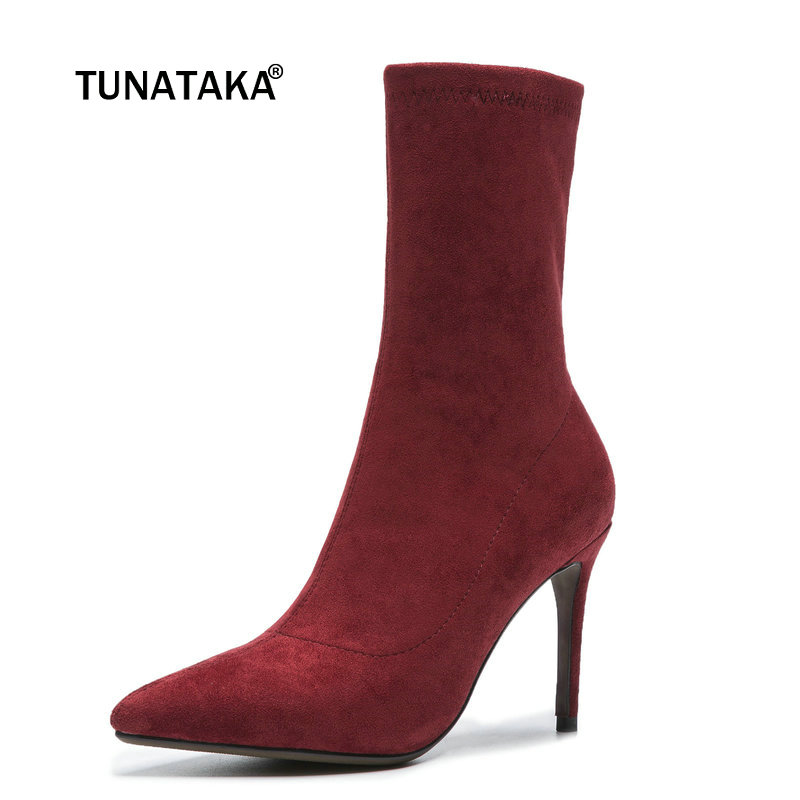 Female Sexy Thin High Heel Suede Ankle Boots Fashion Slip On Pointed Toe Women Fall Winter Bootie Black Wine red Gray