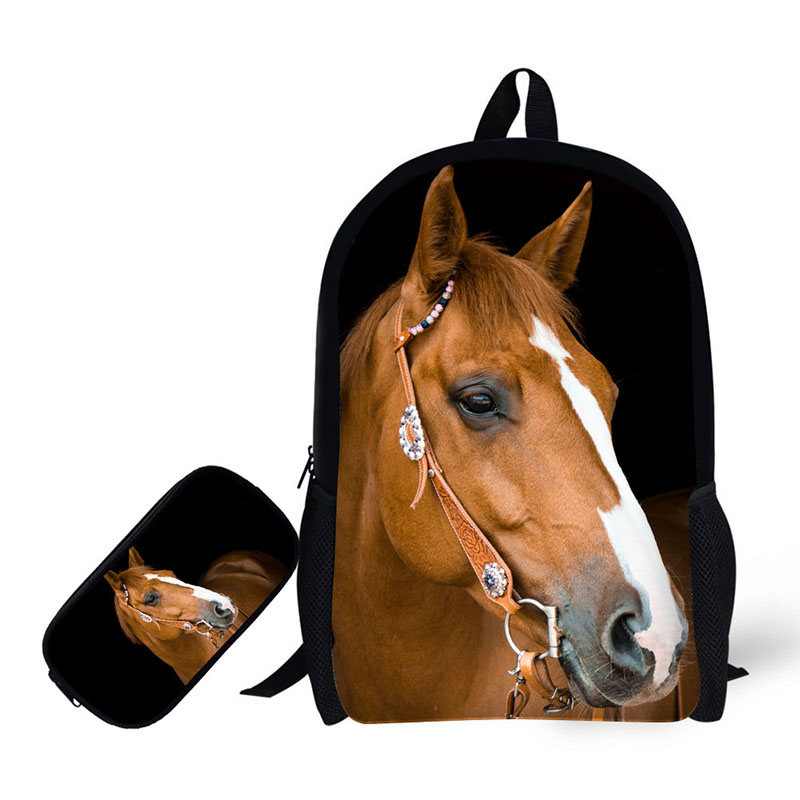 horse prints 2 Set Backpacks with Pencil Case For Teenager Boys girls Casual Travel Shoulders Bag solid backpackhorse prints 2 Set Backpacks with Pencil Case For Teenager Boys girls Casual Travel Shoulders Bag solid backpack