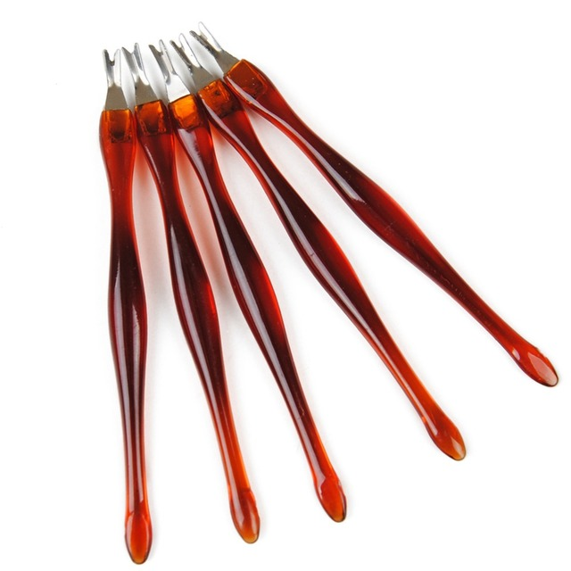 5 pc ze stali nierdzewnej odpychacz do skórek Nail Art narzędzie do Manicure do wykończenia martwy naskórek widelec Pusher trymer skórek przyrząd do usuwania naskórka