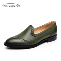 Genuine Leather Woman Size 9 Designer Yinzo Vintage Flat Shoes Round Toe Handmade Green Blue Brown