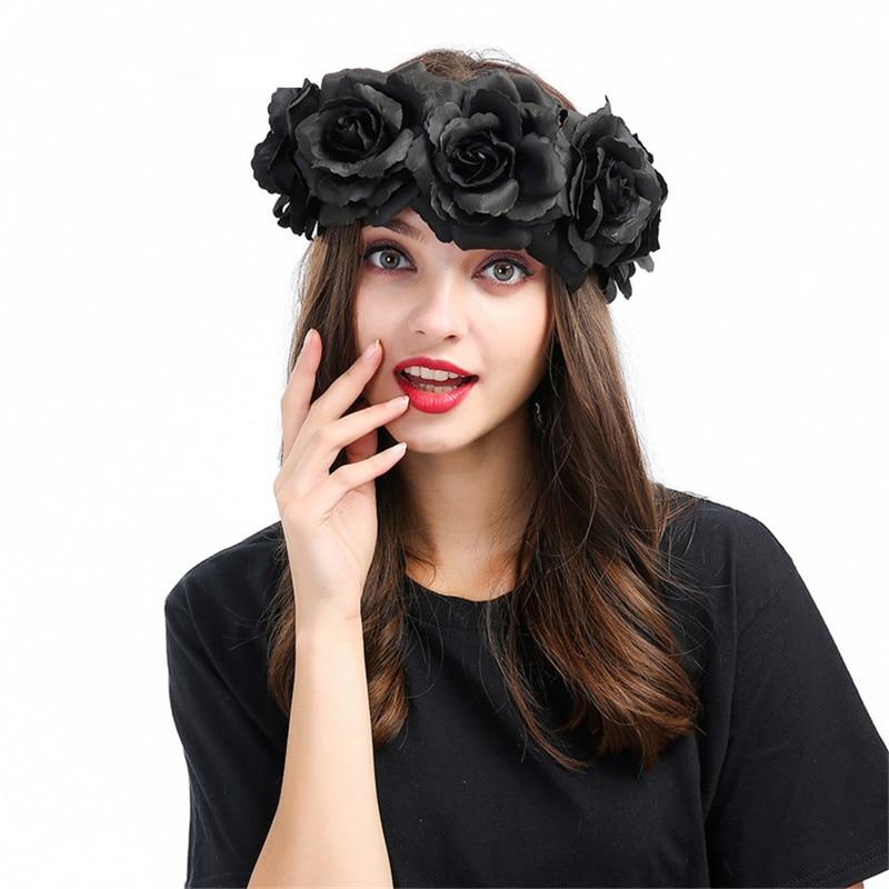 Haimeikang Mystic Black Floral Headbands Huge Rose Flower Crown Headwear Women Fashion Show Hair Ornament