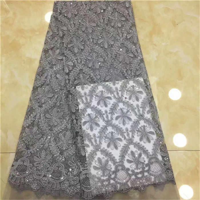Tulle africano Tessuto Del Merletto Del Sequin Rosa Oro 2019 di Alta Qualità In Pizzo Netto Africano Paillettes Lacci rosa grigio Sequin Lace materiale