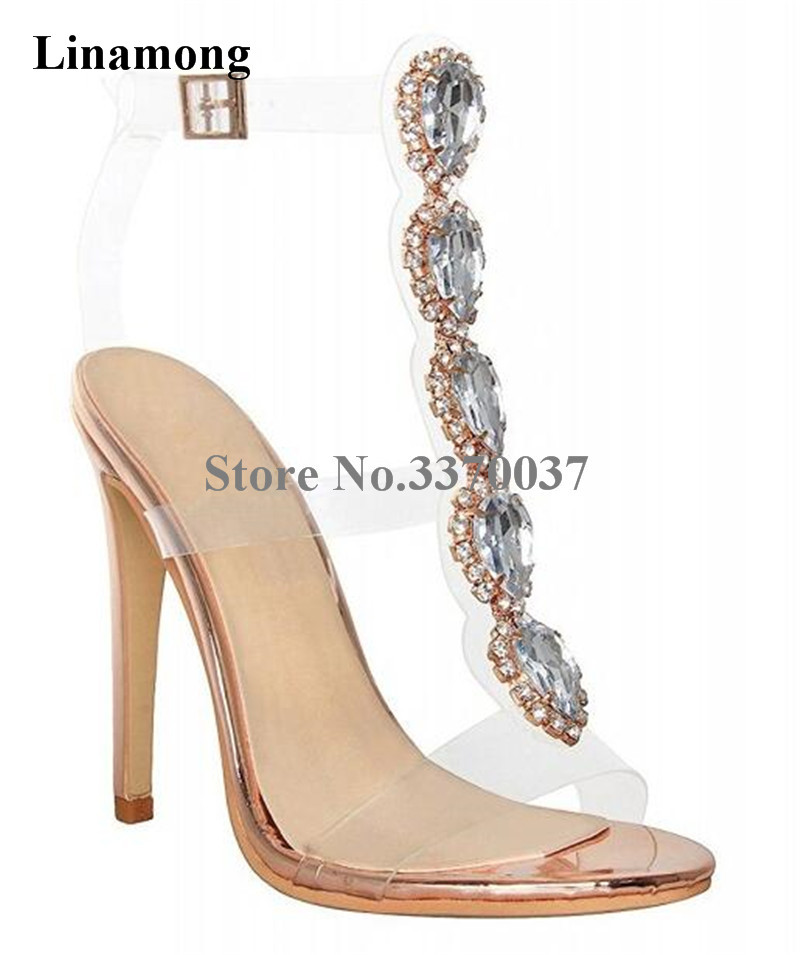 Summer New Fashion Women Luxury Bling Bling PVC Straps Thin Heel Sandals Crystal Transparent High Heel Sandals Wedding Shoes 2017 new design women fashion transparent thin heels sandals 20cm super high heel shoes crystal wedding shoes adhesive sandals