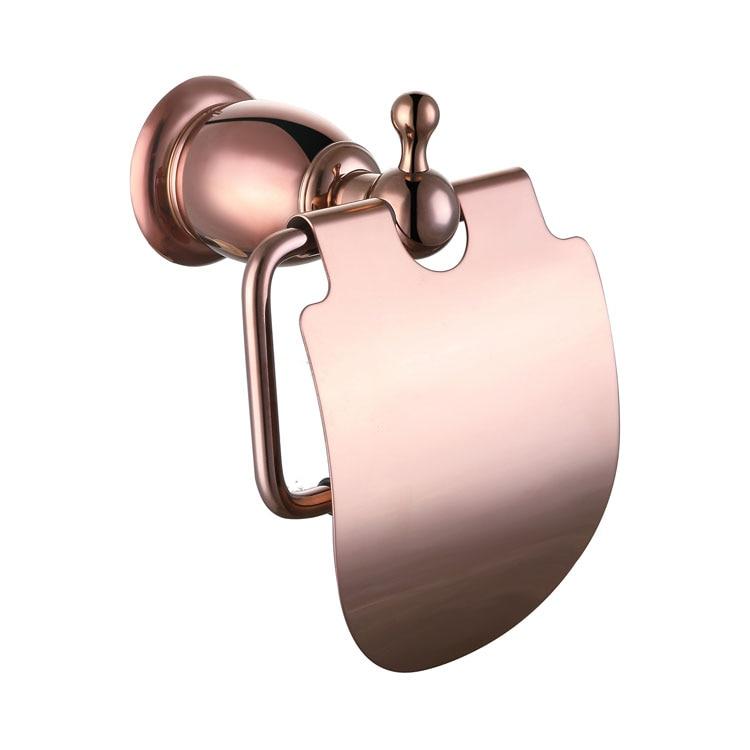 Rolya Wholesale Promotion Premium Rose Golden Toilet Tissue Hanger Brass Bathroom Rolling Paper Holder