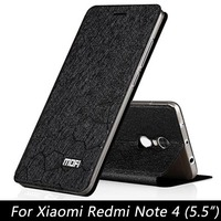 Mofi Phone Case For Xiaomi Redmi Note 4 Flip Luxury Fashion Stand Leather Back Cover For