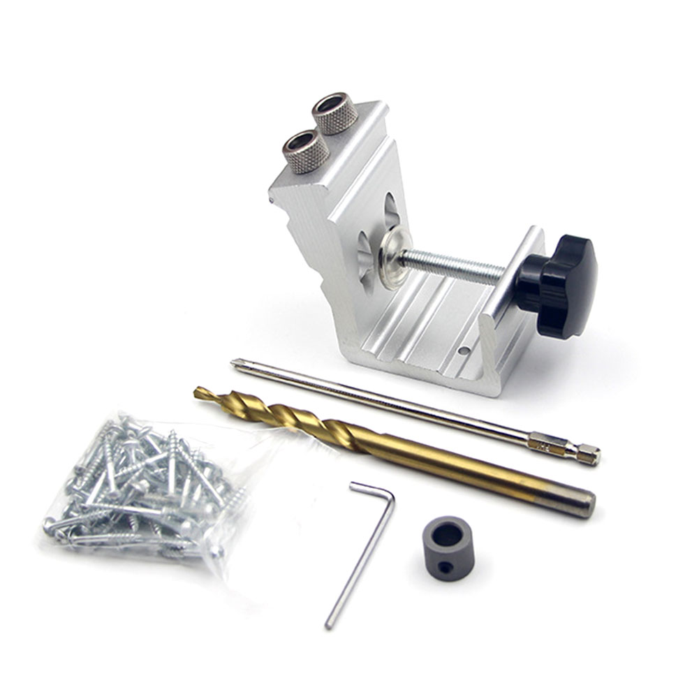 3 In 1 Pocket Hole Jig 9mm Aluminum Alloy Dowel Drilling Hole Kit Carpentry Punch Locator Woodworking Drill Guide Tool