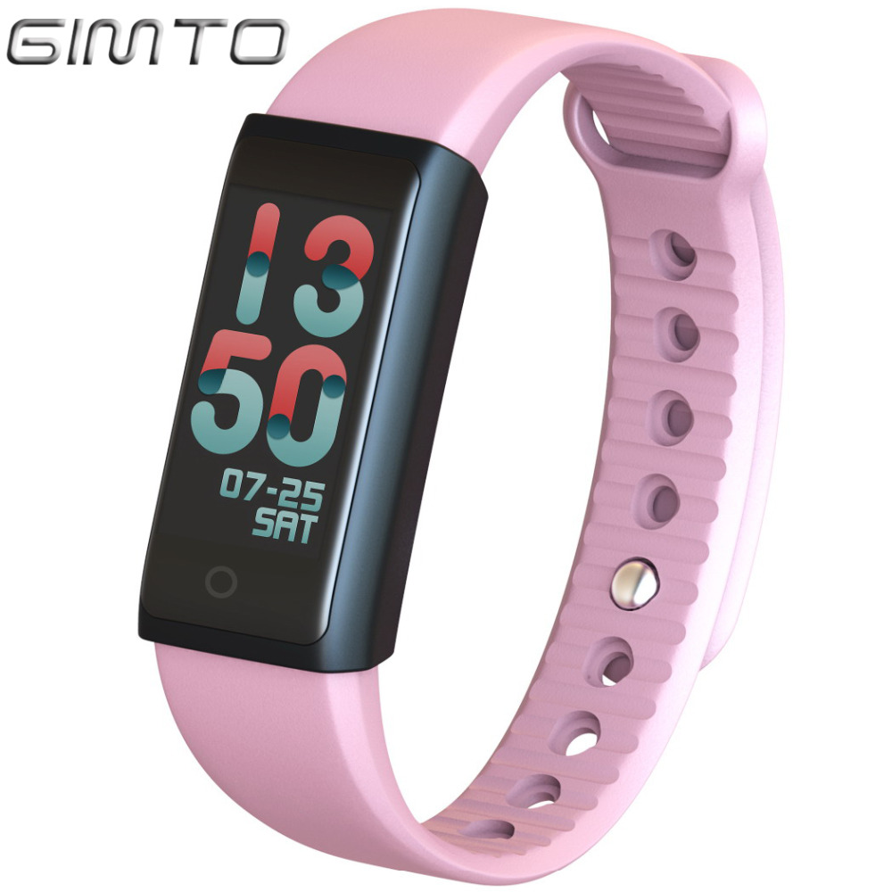 GIMTO Women Children Smart Bracelet Watch Sport Waterproof blood pressure Heart Rate Monitor Calories Pedometer for IOS Android gimto sport smart bracelet watch outdoor clock waterproof stopwatch heart rate monitor blood pressure pedometer for ios android