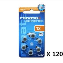 20 pacote (120 pces) 100% original renata a13 13a za13 13 pr48 1.45 v avançado aparelho auditivo baterias cic orelha cuidados botão pilha