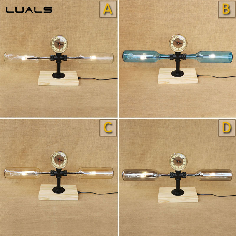 LUALS American style Water pipes Retro Table Lamp personality Glass Bottle Deco mesa Desk Lamp For The Bar Loft LED Table LightLUALS American style Water pipes Retro Table Lamp personality Glass Bottle Deco mesa Desk Lamp For The Bar Loft LED Table Light