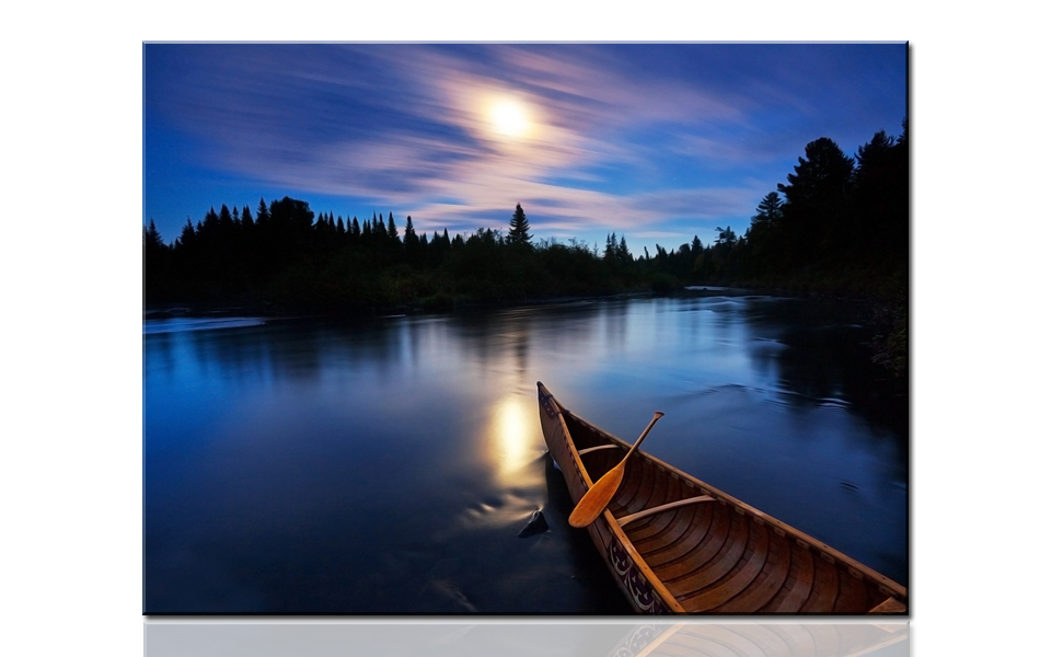 S728 Calm lake & canoe as time flies, large HD canvas ...