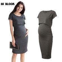 02f95a27d3905 Elastic Tencel Summer Elegant Office Lady Vestidos Loose Maternity Dresses  Pregnancy Clothes No Nursing Dress for Pregnant Women