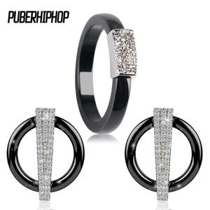 puberhiphop Luxury Ceramic Rings Set Wedding Jewelry