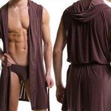 Мужские повседневные пижамы, сексуальная пижама без рукавов, домашняя одежда с нижним бельем, Халат с капюшоном, мужские халаты, удобный сексуальный халат