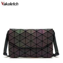Светящиеся дизайнерские женские вечерние сумки через плечо для девочек с клапаном сумки 2019 модные геометрические повседневные клатчи KL353