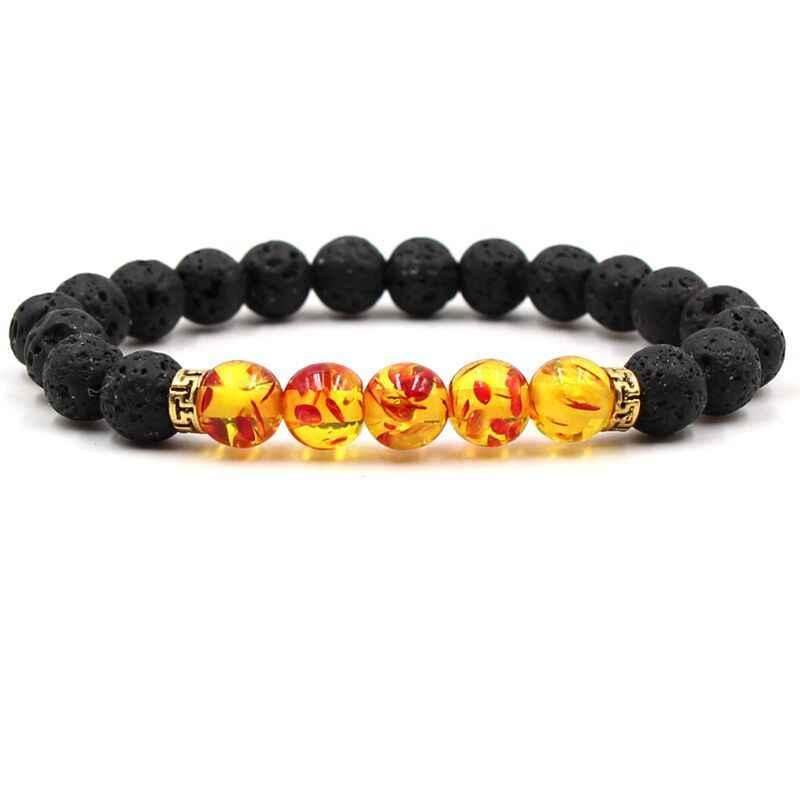 Pulsera Chakra hombres negro Lava cuentas sanadoras equilibrio Reiki Buddha oración piedra natural para yoga ID pulseras para mujeres