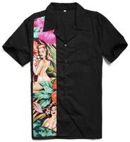 Hot Sale Camisa Social Masculina Hawaiian Nude Girl Printing Panel Rocknroll Casual XXL Size Charley Harper Inspired Men Shirts