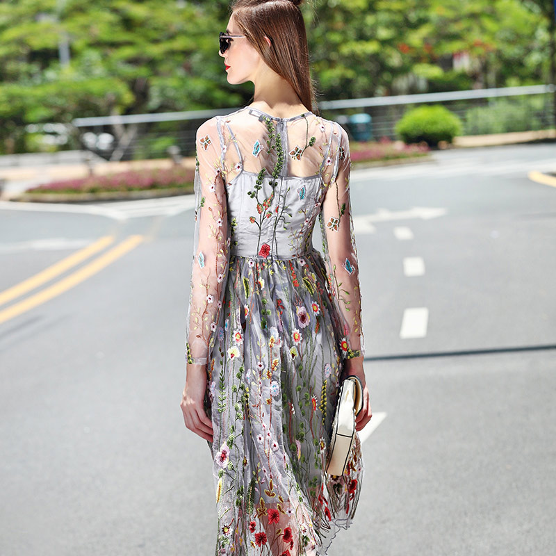 93474ffa6691 casual summer dresses women 2019 floral embroidery see through grey mesh  dress women outfits long sleeve a line sexy midi dress-in Dresses from  Women s ...