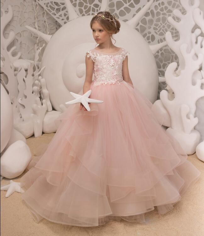Long Puffy Pink Tulle Flower Girls Dresses Pretty Princess Birthday